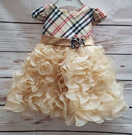 Girls Beige Infant Tartan Occasion Bridesmaid Party Dress